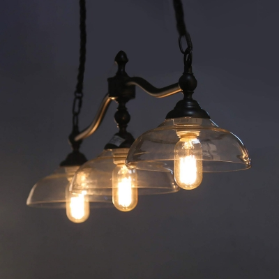 Dome Island Light 3-Light Industrial Farmhouse Clear Glass Hanging Light in Black Patina