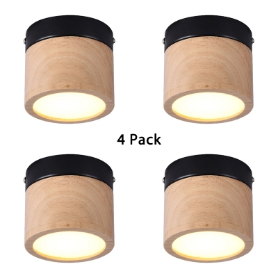 (4 Pack)Drum Shape LED Ceiling Light Fixture Wood and Acrylic 4 Inch Flush Mount Light for Kitchen Dining Room