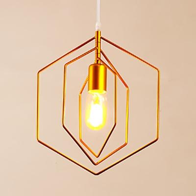 Gold Hexagon Frame Semi Flush 1 Light Modern Metal Ceiling Light for Enter Corridor