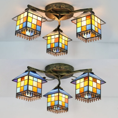 House Shape Restaurant Semi Flush Ceiling Light Stained Glass 3 Lights Tiffany Style Light Fixture