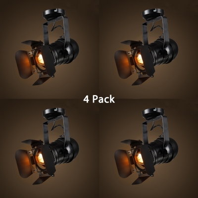 (4 Pack)Industrial Angle Adjustable Track Lighting 1 Head Black Small/Large Ceiling Light for Cafe Bar