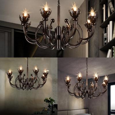 Industrial Black Chandelier 8 Lights Metal Chandelier Lamp for Living Room