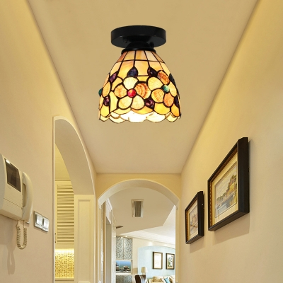 Kitchen Flower Flush Mount Light Stained Glass 1 Light Rustic Style Ceiling Light