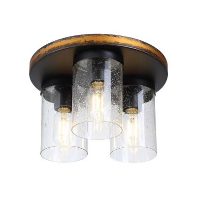 Downward Cylindrical Cup Flush Light Rustic 3 Bulbs Clear Glass Flushmount Lighting