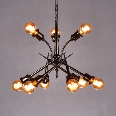 Metal Open Bulb Chandelier 9 Lights Vintage Black Hanging Lights for Living Room