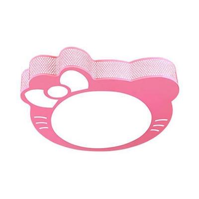 Pink Kitty Shape LED Ceiling Mount Light White Lighting/Stepless Dimming Flush Mount Light for Girls Bedroom