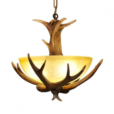 Resin and Glass Antlers Pendant Lighting Dining Room Living Room Rustic Style Hanging Pendant with Domed Shade