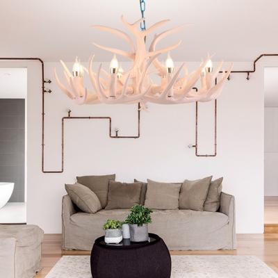 Resin Deer Horn Chandelier Light 8 Lights Vintage Pendant Lighting for Dining Room Living Room