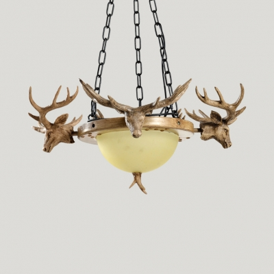 Rustic Style Domed Shape Chandelier Resin and Glass 3 Lights Beige Hanging Light with Deer Decoration