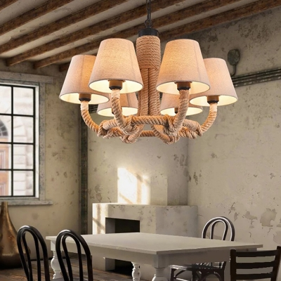 Rustic Style Tapered Shade Chandelier 6 Lights Rope and Fabric Hanging Lamp for Coffee Shop Restaurant