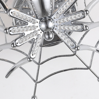 Single Light Spider Web Sconce Decorative Metal Wall Light in Chrome for Bedroom Indoor