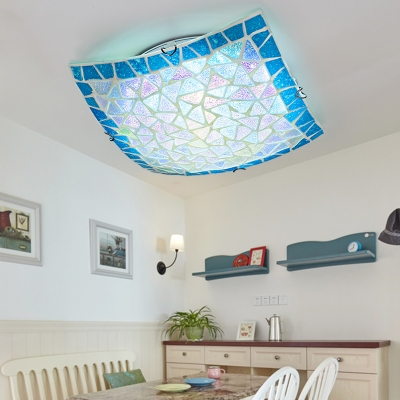 Square Bedroom Ceiling Mount Light Stained Glass Mediterranean Style Flush Ceiling Light