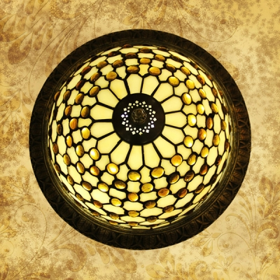 Stained Glass Flush Mount Light Dome Shape Rustic Style Ceiling Light for Living Room