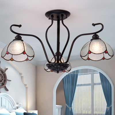 Tiffany Style Semi Flush Light Dome 3 Lights Blue/Clear Glass Ceiling Lamp for Living Room