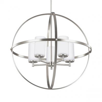 Traditional Globe Shape Chandelier Light 3/5 Lights Metal Hanging Lamp in Brass/Chrome for Restaurant Cafe