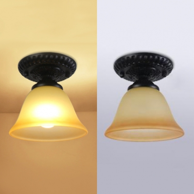 Vintage Style Bell Ceiling Light 1 Light Frosted Glass Light Fixture in White/Amber for Balcony