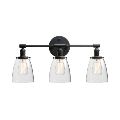 Vintage Style Black Wall Lamp with Bell Shape 3 Lights Metal and Clear Glass Wall Light for Indoor HL518140 фото