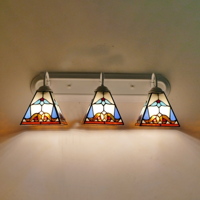 3 Lights Trapezoid Sconce Light Tiffany Style Stained Glass Wall Lamp for Living Room