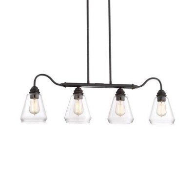 4 Lights Tapered Island Pendant Light Farmhouse Vintage Clear Glass Hanging Light in Satin Bronze