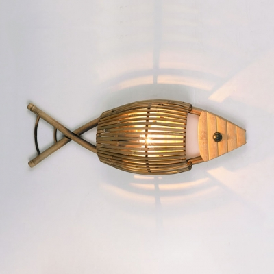 Tropical Fish Wall Light for Bedroom Restaurant Bamboo One Light Wall Sconce in Wood, 25