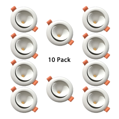 (10 Pack)Angle Adjustable 12/18W Ceiling Light Recessed 3.5-4/4.5-5 Inch Circle Recessed Down Light in Warm White/White/Cool White