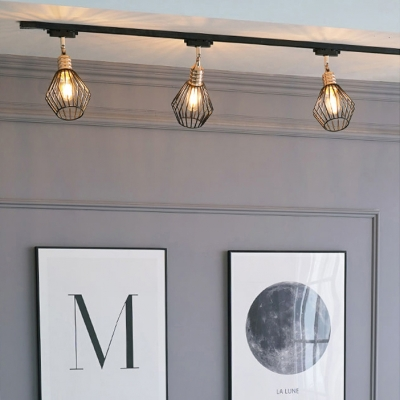 Antique Wire Frame Ceiling Light 3/4 Lights Metal LED Track Lighting in Black for Restaurant
