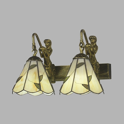 Bathroom Cone Wall Light with Mermaid Decoration Glass 2 Lights Tiffany Style Wall Sconce