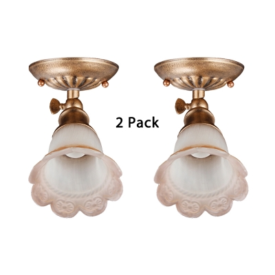 (2 Pack)Bedroom Hallway LED Spot Light Antique Flower Shape Glass Ceiling Fixture with Adjustable Angle in White/Warm