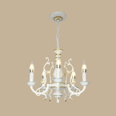 Black-Gold/White-Gold Candle Pendant Lamp 3/5/6 Lights Colonial Style Metal Chandelier for Bedroom Restaurant