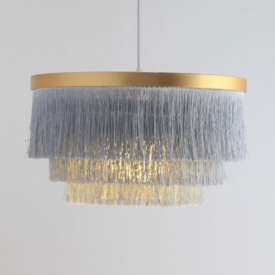 Circle Hanging Light Single Light Rustic Tassel Chandelier for Dining Room Bedroom