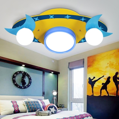 Creative Spaceship Shape Ceiling Mount Light Moon Star Decoration LED Flush Mount Light for Kid Bedroom