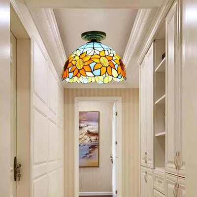Dining Room Bowl Flush Mount Light Stained Glass 1 Light Rustic Style Ceiling Light