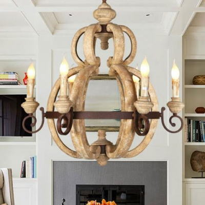 European Style Candle Chandelier 6 Lights Metal and Wood Pendant Lighting for Living Room