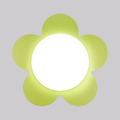 Eye-Caring Flower Shape Ceiling Mount Light 5 Color Optional Acrylic Flush Mount Light for Boy Girl Bedroom