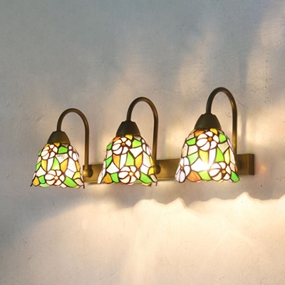 Flower/Fruit Wall Light 3 Lights Rustic Style Stained Glass Sconce Light for Hallway Bedroom
