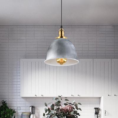 Antique Style Bell Shape Ceiling Light Metal 1 Light Plug In Gray Hanging Light for Dinging Room