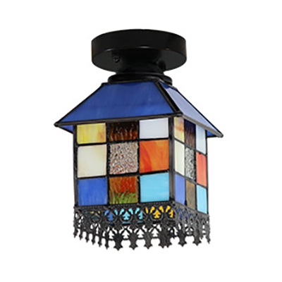 House Shape Ceiling Light 1 Light Tiffany Style Stained Glass Flush Mount Light for Balcony