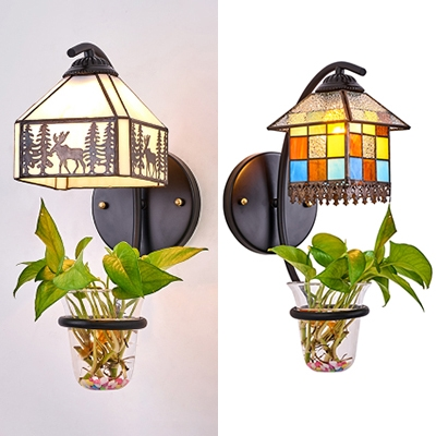 House Shape Sconce Light Tiffany Style Stained Glass Wall Lamp with Leaf Decoration for Balcony