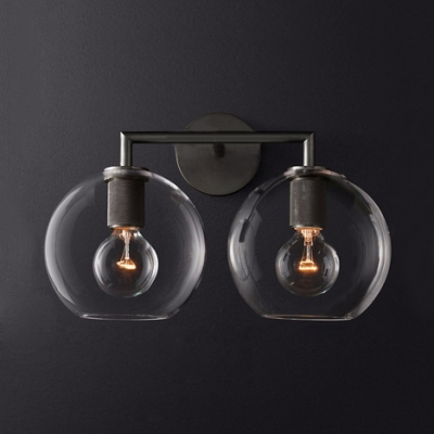 Industrial Globe Wall Light 2 Lights Metal and Glass Sconce Wall Lamp in Brass/Black/Chrome