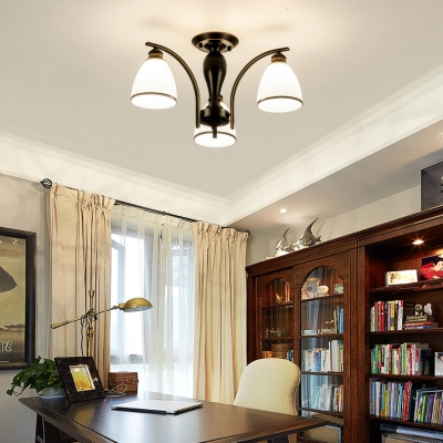 Living Room Bell Semi Ceiling Mount Light 3 Lights Antique Metal Ceiling Lamp in Black/Gold