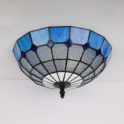 Mediterranean Style Dome Ceiling Light Blue/Yellow/Clear Glass Flush Mount Light for Foyer