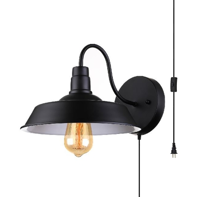 Metal Barn Shade Wall Light Shop Restaurant 1 Light Industrial Sconce Light with Plug In Cord in Black