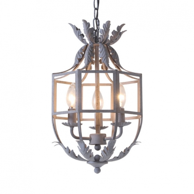 Metal Bell Shape Chandelier Living Room 3 Lights Rustic Style Light Fixture in White/Gold/Gray