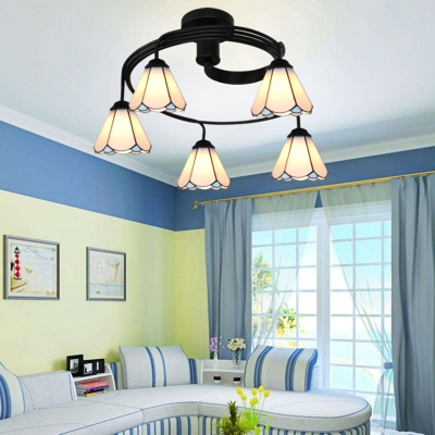Rustic Style Semi Ceiling Mount Light 5 Lights Clear/White/Blue Glass Ceiling Lamp for Hotel