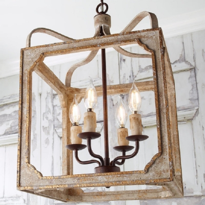Square Shade Candle Chandelier 4 Lights Vintage Style Metal Ceiling Lamp for Restaurant Bar