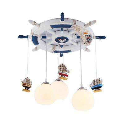 White Globe Shade Semi Flush Mount Light Creative Rudder Ceiling Light for Baby Girl Boy Bedroom