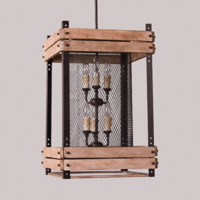 Wood and Metal Mesh Chandelier 3/6 Lights Rectangle Shade Vintage Style Pendant Light for Kitchen Bar