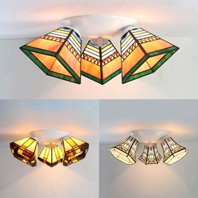 3 Lights Flush Mounted Light Rustic Style Stained Glass Light Fixture for Restaurant
