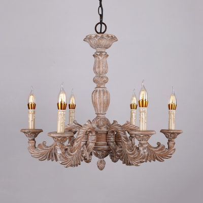 6 Lights Candle Shape Pendant Chandelier Rustic Style Wood Hanging