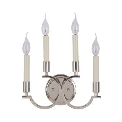 Antique Style Candle Wall Light 4 Lights Metal Wall Lamp in Chrome for Dining Room Restaurant